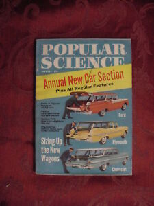 POPULAR SCIENCE January 1959 NEW CARS FORD PLYMOUTH CHEVROLET Nautilus N6A