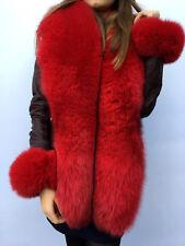 King Size Blue Fox Fur Stole 78' Inch. (200cm) Saga Furs Collar Red Fur Boa