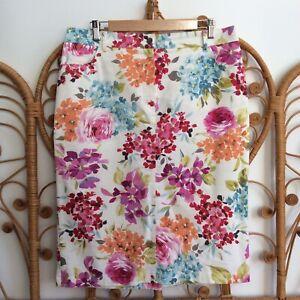 Artigiano Floral Ditsy Botanical Print Stretch Pencil Midi Skirt Size 16