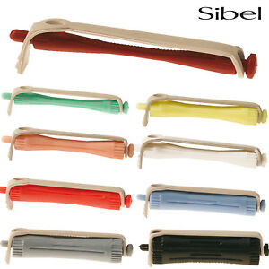 Sibel 12 x Professional Perming Rods & Rubbers For Curling Waves & Hairdressing