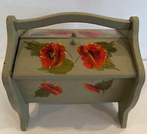 Vtg Hand Painted Signed Wooden Box W/ Handle Storage Sewing Red Poppy Flowers