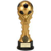 FOOTBALL SOCCER TROPHY 3 SIZES AVAILABLE ENGRAVED FREE GOLD CELEBRATION TROPHIES