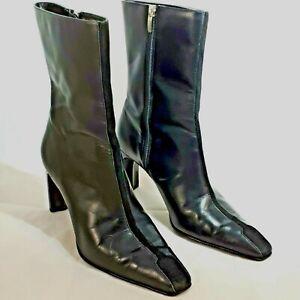"Anne Klein Women's Sz 9.5 Boot Black Leather High Heel 3-1/2"" Mid Calf Zip Up"