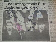 U2 Vintage 1985 Signed Newspaper Article Autographed by 4 Bono Edge Adam & Larry
