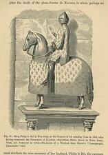 ANTIQUE KNIGHT HORSE IN ARMOUR FLEUR DE LIS CAPARISON EQUESTRIAN WAR DRESS PRINT