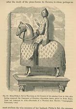 ANTIQUE KNIGHT HORSE IN ARMOUR FLEUR DE LIS CAPARISON EQUESTRIAN WAR DRESS PRINT