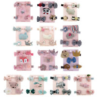 5Pcs/set kids girls cartoon animal hairpin hair clips baby hair accessories TB