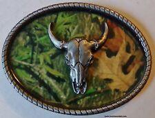 COW SKULL BELT BUCKLE - CAMO BELT BUCKLE -  STEER WITH HORNS - NEW