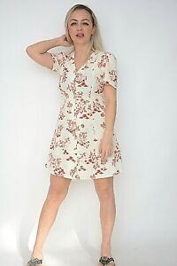 New Womens Ex Nobodys Child White+Rust Leaf Print Linen Mix Tea Dress Size 8-12