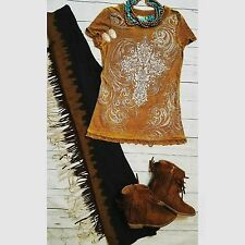 Cowgirl Gypsy Tee Vintage Burnout CROSS  Western Scroll Rodeo  Ladies M nwt