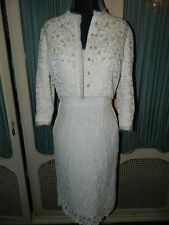 Vintage 50's Ivory Beaded Lace Sheath Wedding Dress Set from Agasta Gowns