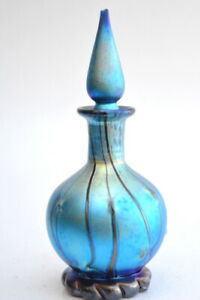 Blue Luster Perfume Bottle With Red Threading Design. Blown Glass