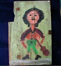 Jim Sudduth Folk Art painting- Outsider  Alabama  1992 Woman w/ Guitar  on Door