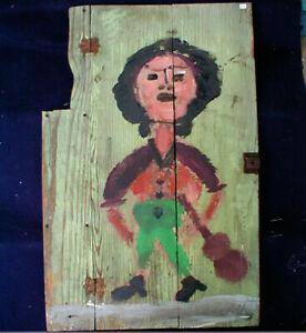 Jim Sudduth Folk Art painting- Outsider  Alabama  1992 Woman w/ Guitar  on Door
