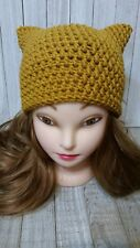 Gold yellow kitty pussy cat ears chunky hat crochet womans hand made beanie