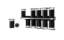 Zevro Zero Gravity Wall Mount Magnetic Spice Rack Storage Jar Set of 12, Black