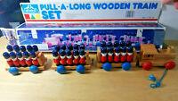 Vintage 'MyKids' Pull Along Wooden Train Kids Toy Play Set