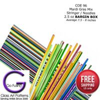 Glass Fusing Supplies Noodles Stringer BOX 2.5oz COE 96 Mardi Gras Uroboros