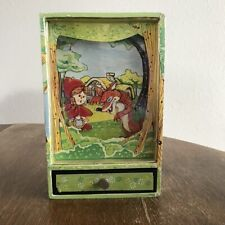 """music box, vintage, toy shadowbox plays """"Who's Afraid of the Big Bad Wolf"""""""