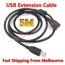 USB Extension Cable Type A Male to Female 5M Long Lead Cord With Magnetic Ring