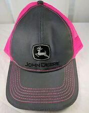 John Deere Grey Neon Hot Pink Mesh Snapback Adjustable Baseball Hat Trucker Hat