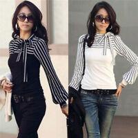 Blouse Shirt Autumn Fashion Black White Stripe Bowknot Top Tee Long Sleeve  FO
