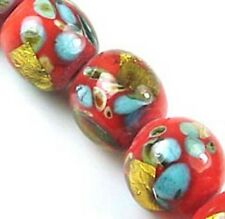 Lampwork Handmade Glass Gold Foil Orange Round Beads