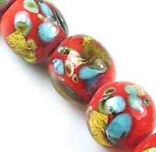 Lampwork Handmade Glass Gold Foil Orange Round Beads