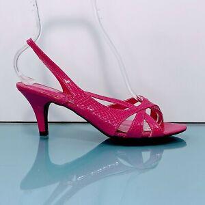 Vintage JOHN ROMAINE Womens 8 Pink Snakeskin Strappy Slingback Pump Sandal Shoes