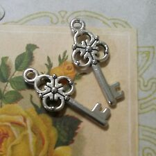 BULK Charms Antiqued Silver Key Charms Pendants Wholesale Charms 100 pieces