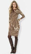 Ralph Lauren Beige Brown Feather Print Dress Silk Cashmere Size Medium -