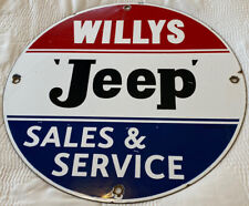 New ListingVintage Willys Jeep Porcelain Dealership Sign, Army, Gas, Oil, Ih, Wrangler Army