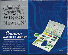 Winsor & Newton Cotman Watercolor Watercolors THE COMPACT SET 14 Half Pans Brush