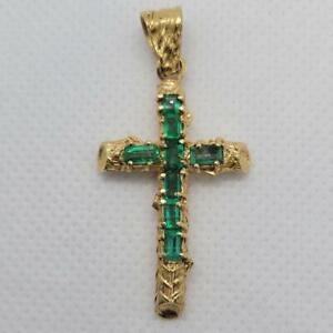 GIA Certified Natural Colombian Emerald Cross Pendant 18K Yellow Gold