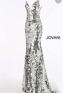 jovani prom dress size 10 in silver sequin
