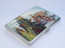 Exquisite 1920s solid sterling silver & enamel cigarette case 1923 london import