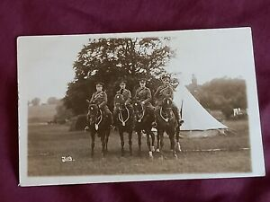 VINTAGE WW 1 ERA REAL PHOTO POSTCARD, YOUNG SOLDIERS ON HORSES