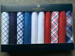 10 pack ExDebenhams Osborne luxury fine Cotton Multi colour Handkerchiefs
