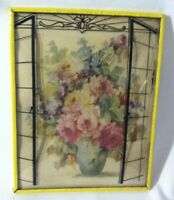 """Vtg Floral Silhouette Reverse Painted Curved Convex Glass 4"""" x 5"""" M Black M & B"""