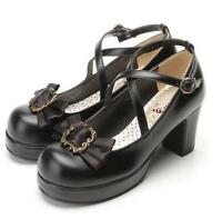 Sweet Lolita Block High Heels Shoes Round Toe Bowtie Mary Janes Pumps Shoes Size