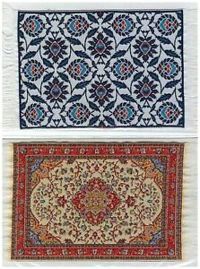 """2 Persian Carpet Model Miniature Rug as Picture 6"""" X 4"""" Black Blue Flower / Red"""