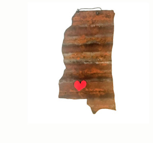 Galvanized State of Mississippi with a Red Magnet Heart