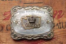 Vintage B-K Sterling Silver Front High School Finals Queen Trophy Belt Buckle