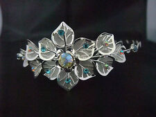UNUSUAL BLUE SILVER TIARA FLOWER LEAF MESH DESIGN WEDDING PROM PAGEANT QUEEN new