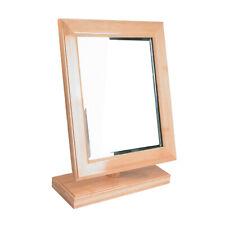 "Countertop Adjustable Rotating Natural Wooden Frame Glass Mirror 10"" x 14"" Usa"