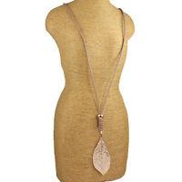 Lagenlook Schmuck Rosegold groß Blatt Anhänger beige Leder lange Halskette