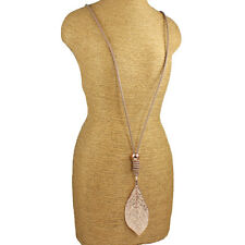 Lagenlook jewellery rose gold large leaf pendant beige leather long necklace
