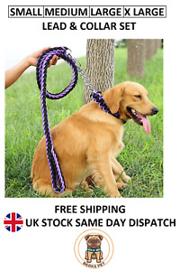 Nylon Braided Traction Rope Lead & Collar Set Martingale Chain Collar Lead Set