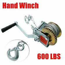 600 lbs Hand Winch Heavy Duty Steel Cable Crank Gear Winch ATV Boat Trailer
