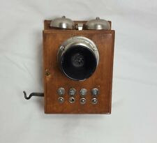 Antique Vintage Decor Electric Wall Mount Wooden Telephone Phone Ringer Box